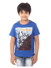 Rugby Round Neck Boys With Sports Print 100% Cotton T-Shirt, 6, royal