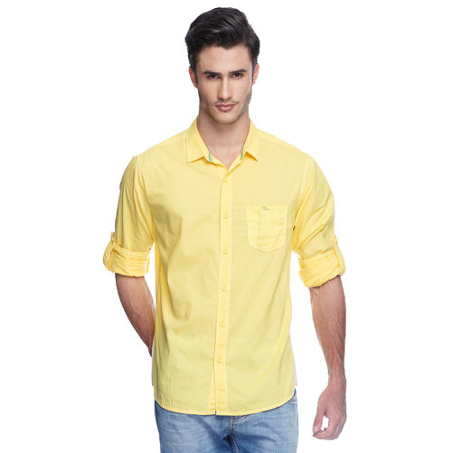 Solid Regular Slim Fit Shirt, m,  yellow