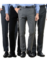 American-Elm Men's Cotton Formal Trousers- Pack of 4, 34, multicolor