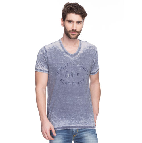 Printed V-Neck T-Shirt, m,  charcoal