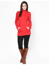 Femella Sweat Tunic With Zipper, high risk red, s