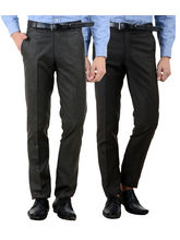 American-Elm Men's Cotton Formal Trousers- Pack of 2, 32, multicolor