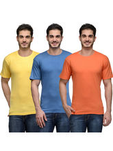 Urban Glory Pack of 3 Men's 100% Cotton Solid T-Shirt, m, multicolor