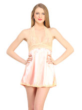 Desiharem Halterneck Babydoll For Women, peach