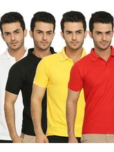 Lime Offers Combo of 4 Men's Polo T-Shirts, multicolor, m