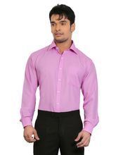 A&C Signature Graceful Poly Cotton Regular Fit Full Sleeves Formal Shirt for Men, pink, 44