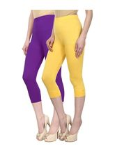 Civilized Showdown Cotton Lycra Capris-Pack Of 2, 30, purple