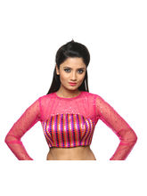 The Blouse Factory A Bright Net Blouse With Scatte Sequence All Over, 36, pink
