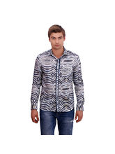 Punctuate Ethereal Chevron Fashion Casual Shirt, multicolor, l