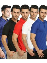 Lime Offers Combo of 5 Men's Polo T-Shirts, multicolor, xl