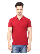 Rugby Men's Half Sleeves T-Shirt With Chest Embroidery, red, m