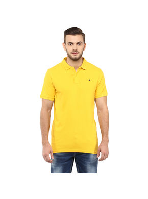 Solid Polo T-Shirt, s,  yellow