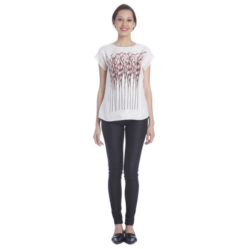 Sneha Arora Off White Flower Stick Print Blouse With Organza Back, s
