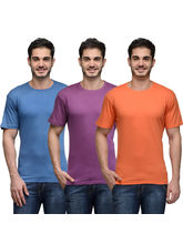 Urban Glory Pack of 3 Men's 100% Cotton Solid T-Shirt, multicolor, l