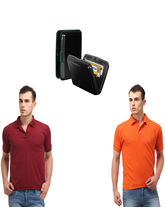 Lime offers Combo of Card Holder & 2 Polo T Shirt, black, s