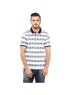 Striped Polo T-Shirt, s,  white