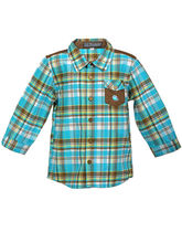 Lil Poppets Shirt with Fish On Pocket for Boys, blue brown, 5