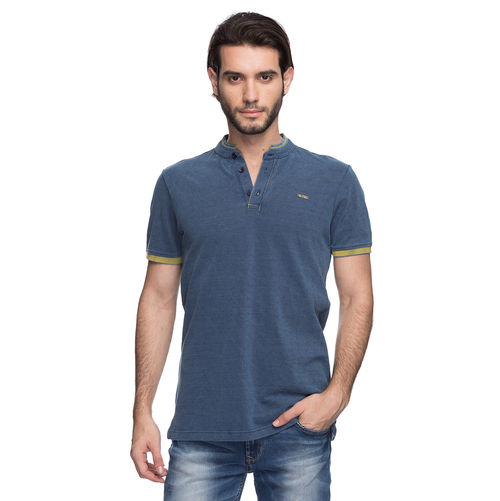 Printed Polo Stand Collar T-Shirt