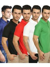 Lime Offers Combo of 5 Men's Polo T-Shirts, l, multicolor