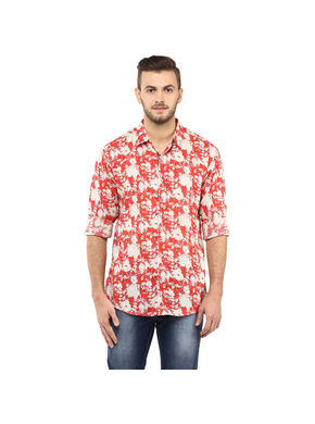 Printed Regular Slim Fit Shirt, m,  orange