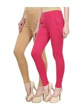 Civilized Showdown Lycra Jeggings-Pack Of 2, beige, l