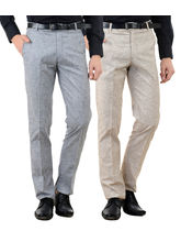 American-Elm Men's Cotton Formal Trousers- Pack of 2, 28, multicolor
