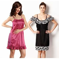 Combo of two satin nightwear - Kn187, multicolor