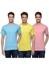 Urban Glory Raw Edge Round Neck Pack of 3 Men's T Shirts (UGTS-353637), multicolor, s