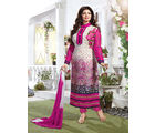 Fabliva Georgette & Satin Women's Unstitched Salwar Suit, pink and white