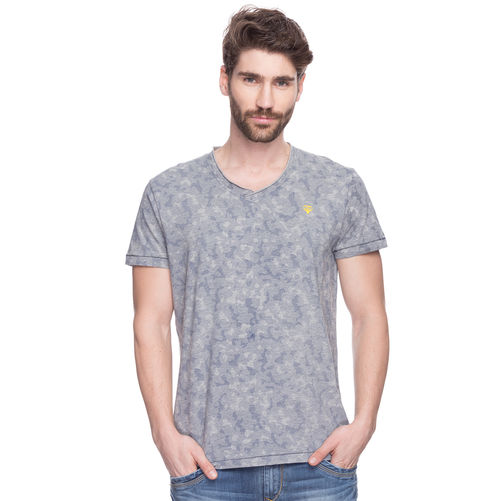 Printed V-Neck T-Shirt, m,  grey melange