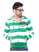 Rugby Hooded F/Slv 100% Cotton Striper With Front Kangaroo Pocket T-Shirt, green, 2xl