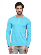 Rugby Men's Full Sleeve Round Neck Single Jersey Cotton T-shirt, blue, 2xl
