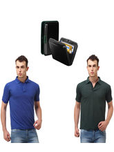 Lime offers Combo of Card Holder & 2 Polo T Shirt, s, black