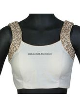 The Blouse Factory Beaded Blouse On Soft Silk, 38, white