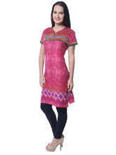 Navriti Women's Printed Embroide Cotton Kurti, rose pink, l