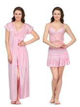 Oleva Satin Nightwear Set of Three - ONW1250035, pink