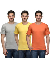 Urban Glory Pack of 3 Men's 100% Cotton Solid T-Shirt, multicolor, s