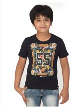 Rugby Round Neck Boys With Front Graphic Print 100% Cotton T-Shirt, 4, navy