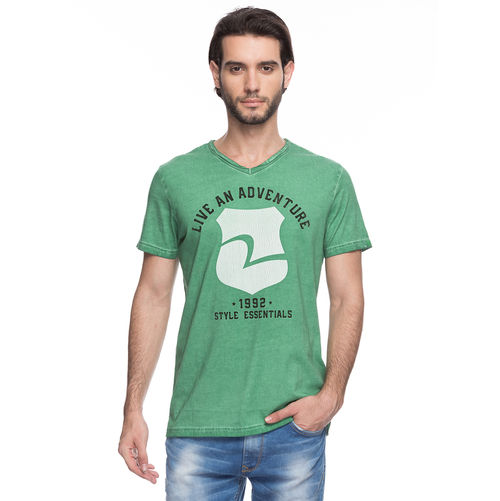 Printed V-Neck T-Shirt, xxl,  green