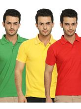 Lime Offers Combo of 3 Men's Polo T-Shirts, s, multicolor