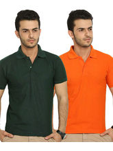 Lime Offers Combo of 2 Men's Polo T-Shirts, multicolor, m