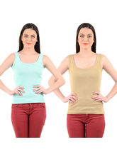 Mynte Women's Camisole Strap (Pack of 2), s, beige and light green