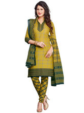 Salwar Studio Mehandi Synthetic Floral Geometric Printed Dress Material with Dupatta, olive and mehandi green