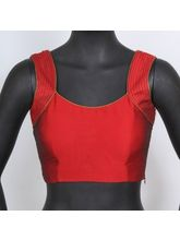 The Blouse Factory Sleeveless Blouse With Pearl Work On Shoulder With Pleated Back, 34, red