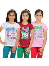 Rhamgold Combo of 3 pcs Printed Round Neck Girl's T-Shirt, 11 12 y, multicolor