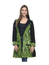 Lavennder Leatherite Women's Long Coat, xl, green and black