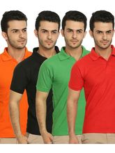 Lime Offers Combo of 4 Men's Polo T-Shirts, l, multicolor