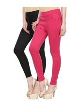 Civilized Showdown Lycra Jeggings-Pack Of 2, black, s