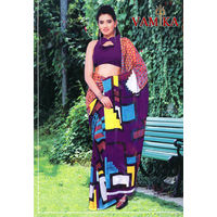 Vamika Attractive Chiffon Saree - VMS0022, multicolor