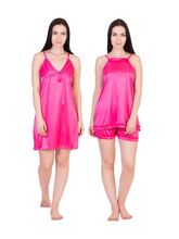 American Elm Women's Stylish Satin Nighty Pack Of 2, multicolor, free size